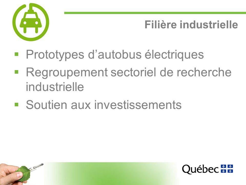 15 Filière industrielle Prototypes dautobus électriques Regroupement sectoriel de recherche industrielle Soutien aux investissements