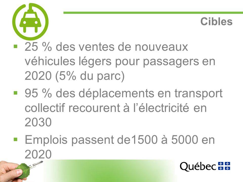 18 Cibles 25 % des ventes de nouveaux véhicules légers pour passagers en 2020 (5% du parc) 95 % des déplacements en transport collectif recourent à lélectricité en 2030 Emplois passent de1500 à 5000 en 2020