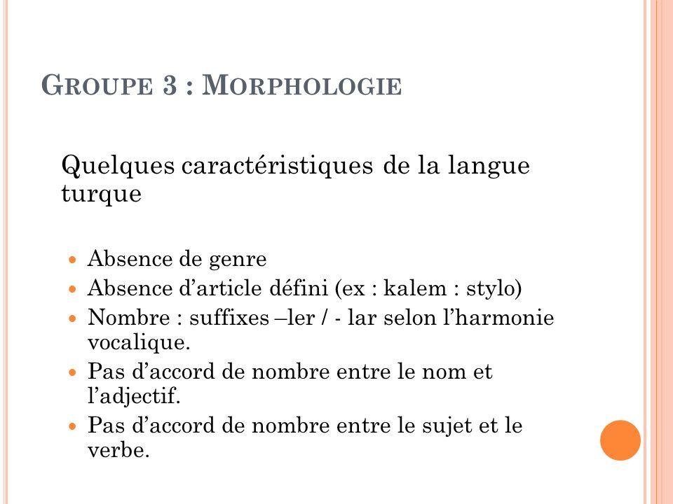 G ROUPE 3 : M ORPHOLOGIE Quelques caractéristiques de la langue turque Absence de genre Absence darticle défini (ex : kalem : stylo) Nombre : suffixes