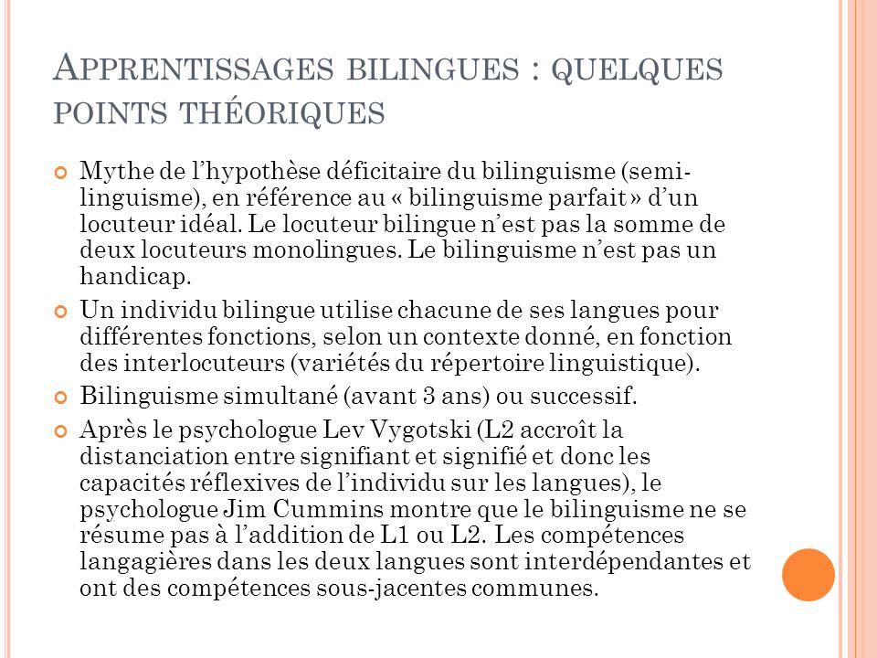 A PPRENTISSAGES BILINGUES : QUELQUES POINTS THÉORIQUES Mythe de lhypothèse déficitaire du bilinguisme (semi- linguisme), en référence au « bilinguisme