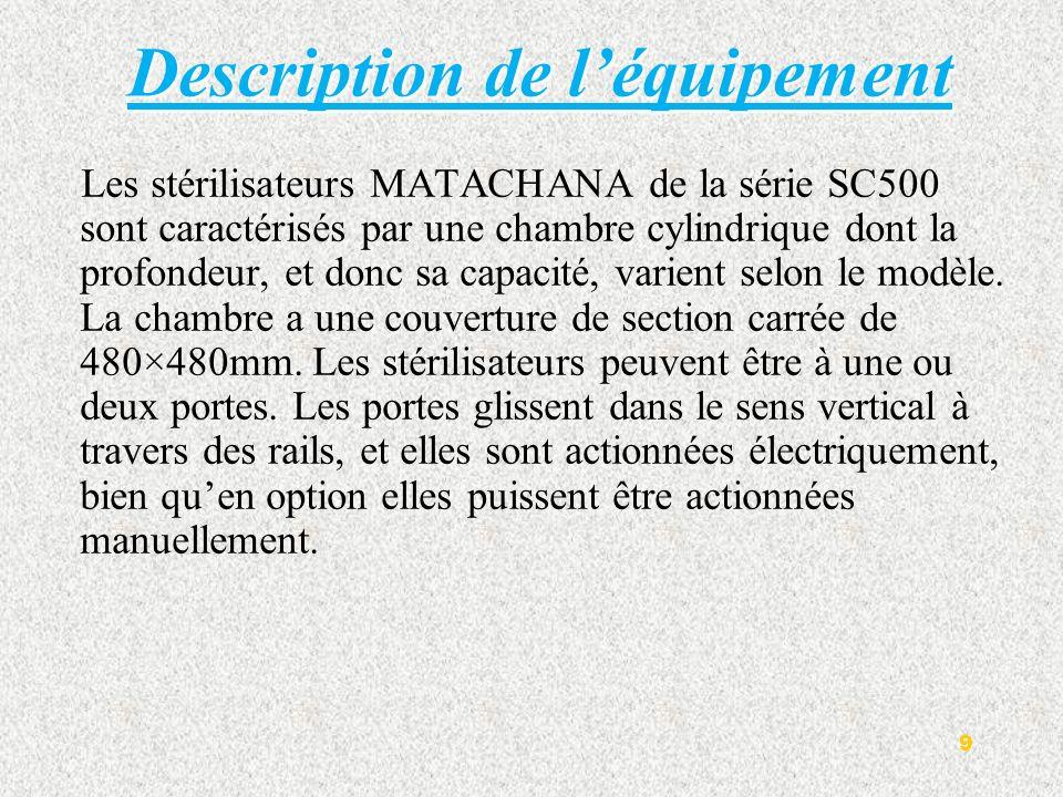 Description de léquipement Les stérilisateurs MATACHANA de la série SC500 sont caractérisés par une chambre cylindrique dont la profondeur, et donc sa