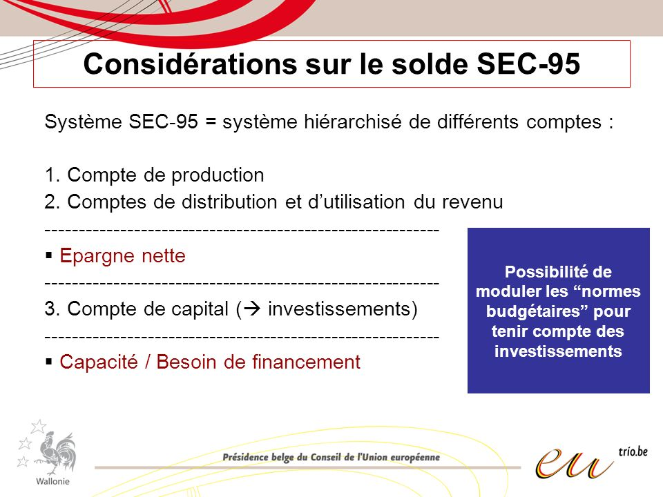 Considérations sur le solde SEC-95 Système SEC-95 = système hiérarchisé de différents comptes : 1. Compte de production 2. Comptes de distribution et