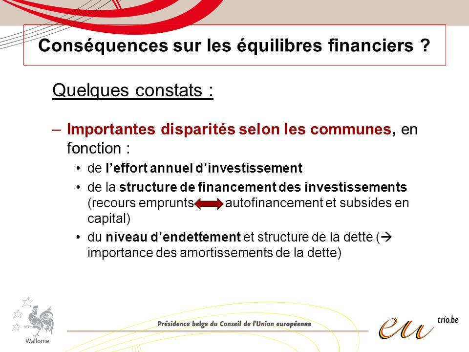 Conséquences sur les équilibres financiers ? Quelques constats : –Importantes disparités selon les communes, en fonction : de leffort annuel dinvestis