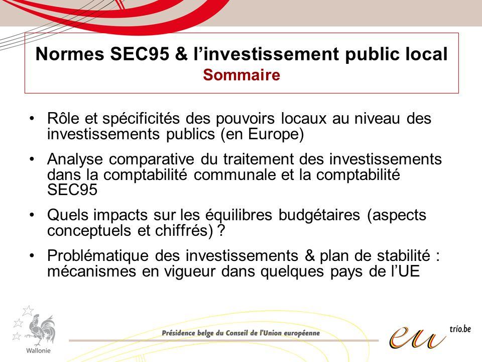 Normes SEC95 & linvestissement public local Sommaire Rôle et spécificités des pouvoirs locaux au niveau des investissements publics (en Europe) Analyse comparative du traitement des investissements dans la comptabilité communale et la comptabilité SEC95 Quels impacts sur les équilibres budgétaires (aspects conceptuels et chiffrés) .