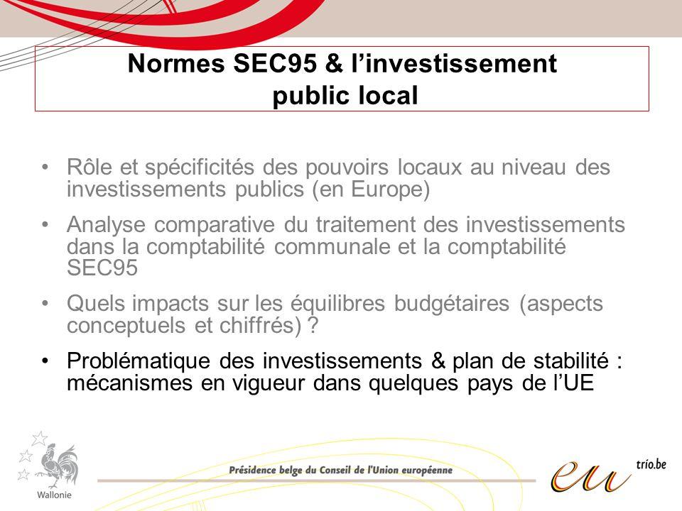 Normes SEC95 & linvestissement public local Rôle et spécificités des pouvoirs locaux au niveau des investissements publics (en Europe) Analyse comparative du traitement des investissements dans la comptabilité communale et la comptabilité SEC95 Quels impacts sur les équilibres budgétaires (aspects conceptuels et chiffrés) .