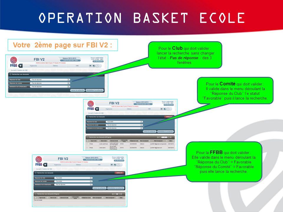 OPERATION BASKET ECOLE Votre 2ème page sur FBI V2 : Pour le Club qui doit valider : lancer la recherche sans changer létat - Pas de réponse - des 3 fe