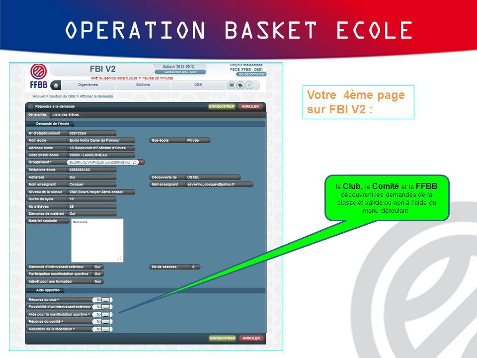 OPERATION BASKET ECOLE Votre 4ème page sur FBI V2 : le Club, le Comité et la FFBB découvrent les demandes de la classe et valide ou non à laide du men