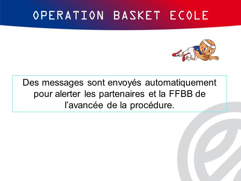 Des messages sont envoyés automatiquement pour alerter les partenaires et la FFBB de lavancée de la procédure. OPERATION BASKET ECOLE