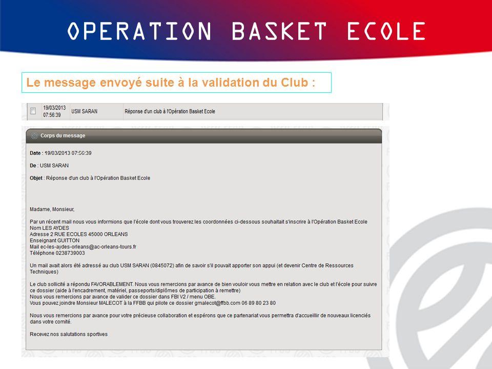 OPERATION BASKET ECOLE Le message envoyé suite à la validation du Club :