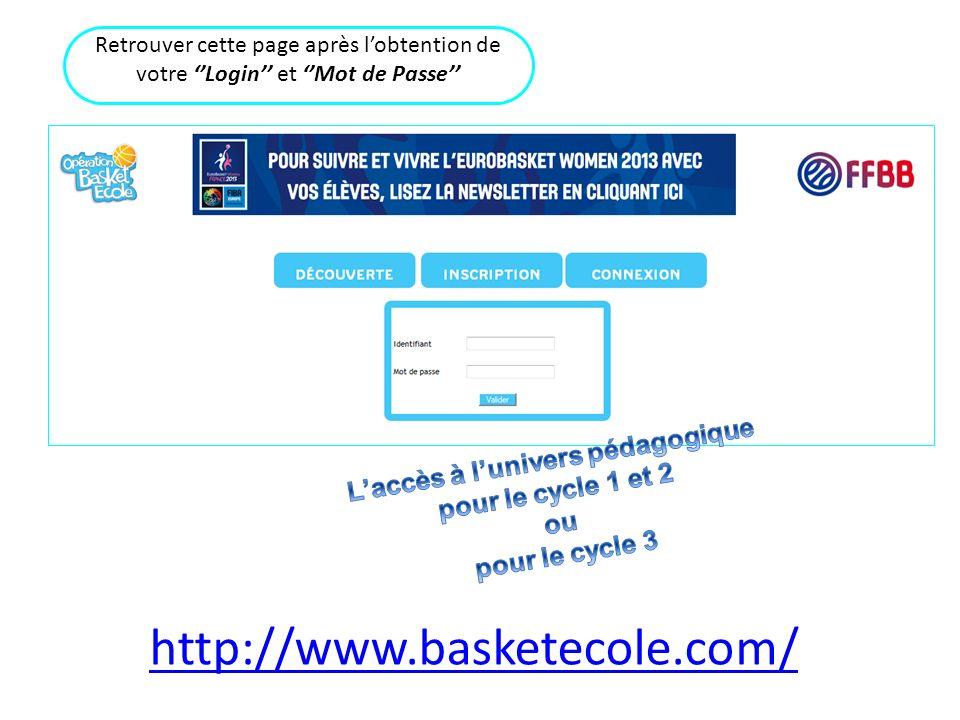 Retrouver cette page après lobtention de votre Login et Mot de Passe http://www.basketecole.com/