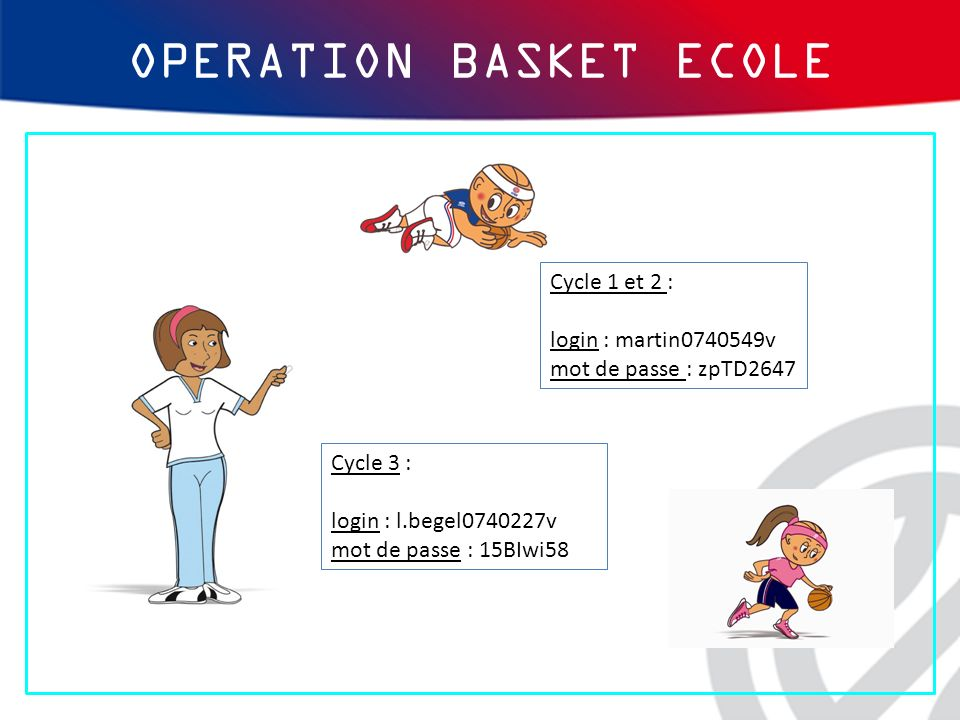 Cycle 3 : login : l.begel0740227v mot de passe : 15BIwi58 Cycle 1 et 2 : login : martin0740549v mot de passe : zpTD2647