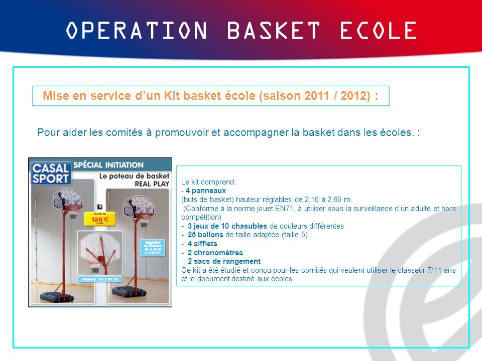Mise en service dun Kit basket école (saison 2011 / 2012) : Le kit comprend : - 4 panneaux (buts de basket) hauteur réglables de 2,10 à 2,60 m. (Confo