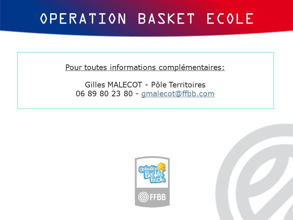 OPERATION BASKET ECOLE Pour toutes informations complémentaires: Gilles MALECOT - Pôle Territoires 06 89 80 23 80 - gmalecot@ffbb.comgmalecot@ffbb.com
