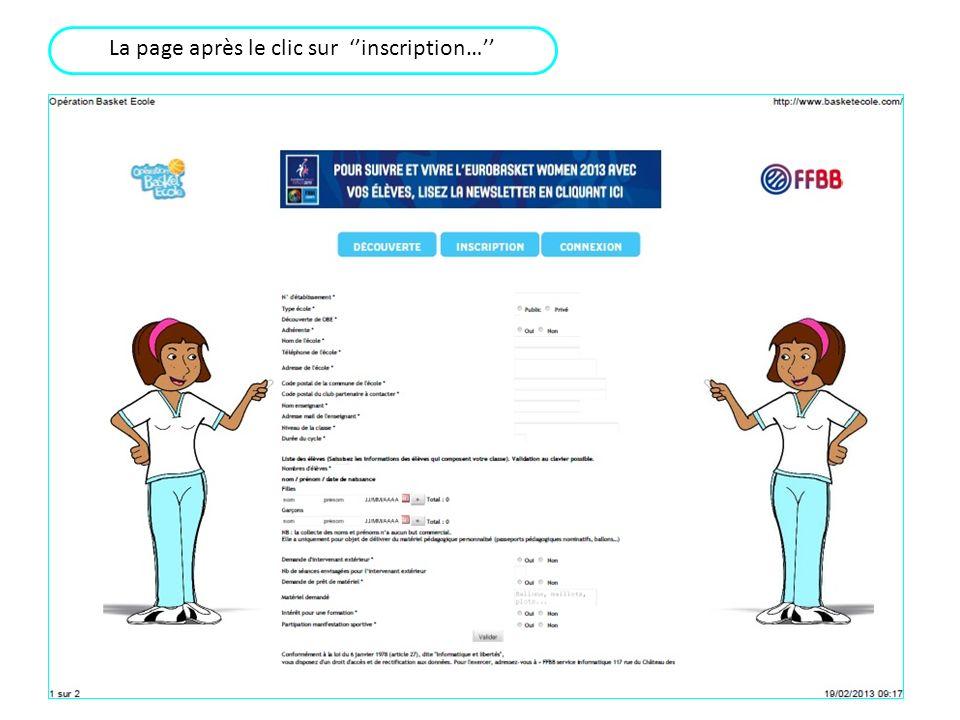 La page après le clic sur inscription…