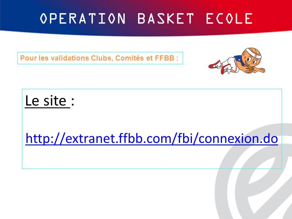 OPERATION BASKET ECOLE Le site : http://extranet.ffbb.com/fbi/connexion.do Pour les validations Clubs, Comités et FFBB :