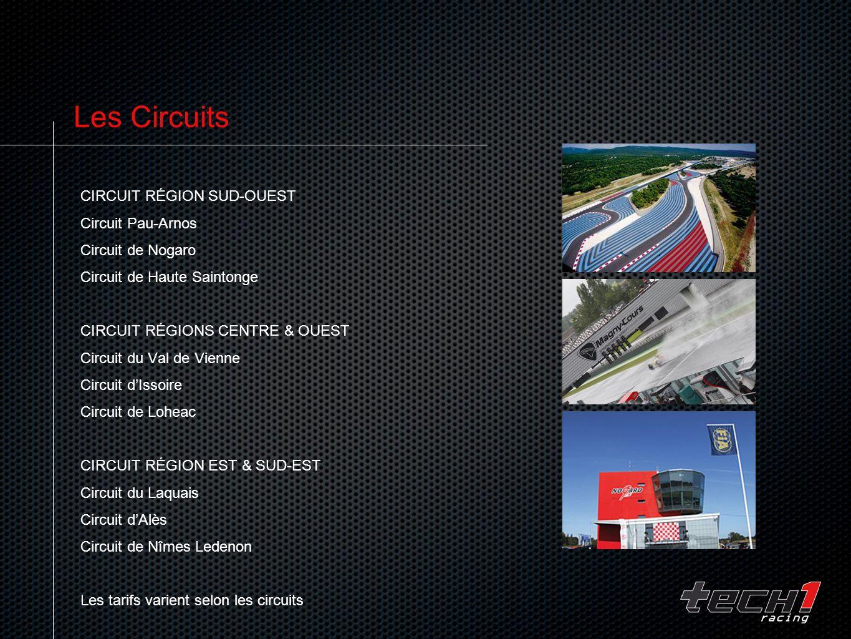 Les Circuits CIRCUIT RÉGION SUD-OUEST Circuit Pau-Arnos Circuit de Nogaro Circuit de Haute Saintonge CIRCUIT RÉGIONS CENTRE & OUEST Circuit du Val de Vienne Circuit dIssoire Circuit de Loheac CIRCUIT RÉGION EST & SUD-EST Circuit du Laquais Circuit dAlès Circuit de Nîmes Ledenon Les tarifs varient selon les circuits