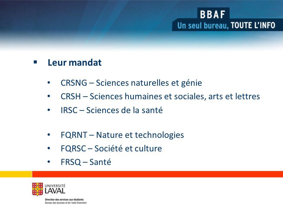 Leur mandat CRSNG – Sciences naturelles et génie CRSH – Sciences humaines et sociales, arts et lettres IRSC – Sciences de la santé FQRNT – Nature et technologies FQRSC – Société et culture FRSQ – Santé