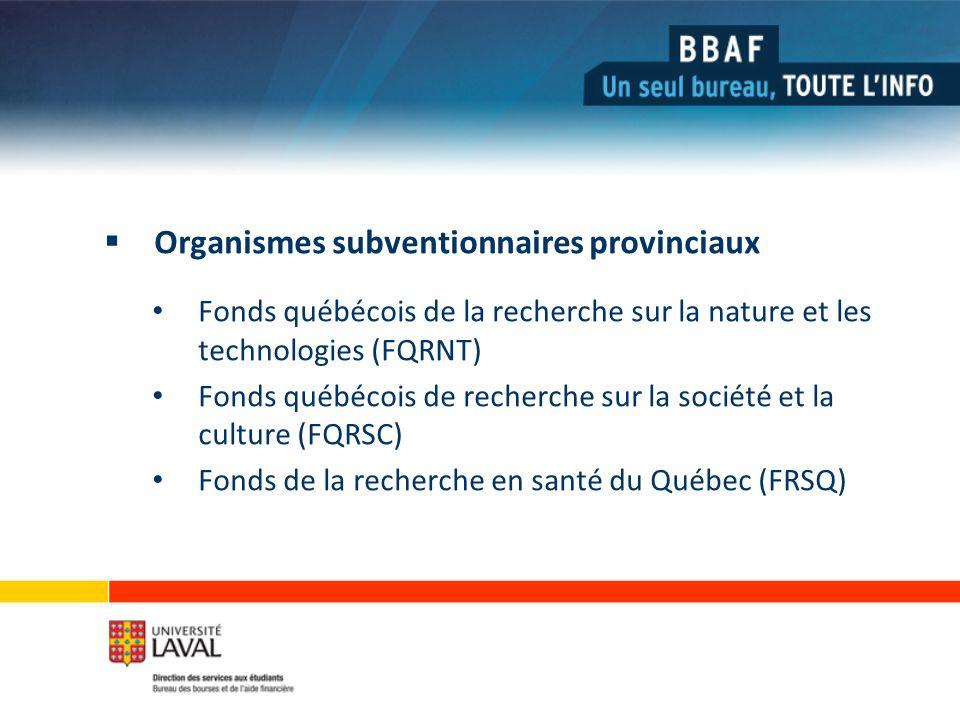 Organismes subventionnaires provinciaux Fonds québécois de la recherche sur la nature et les technologies (FQRNT) Fonds québécois de recherche sur la société et la culture (FQRSC) Fonds de la recherche en santé du Québec (FRSQ)