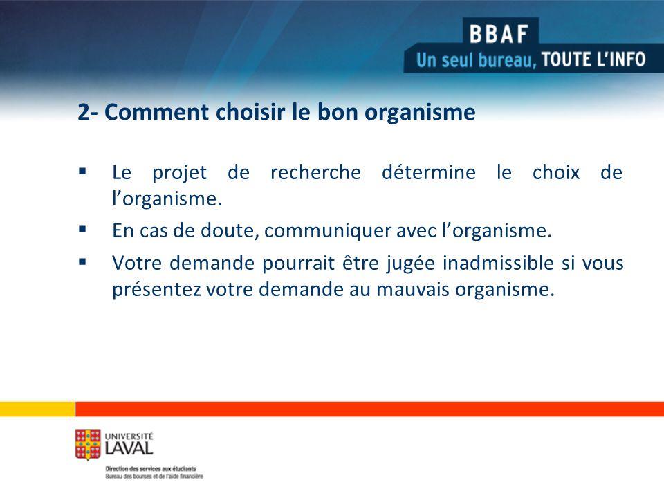 2- Comment choisir le bon organisme Le projet de recherche détermine le choix de lorganisme.