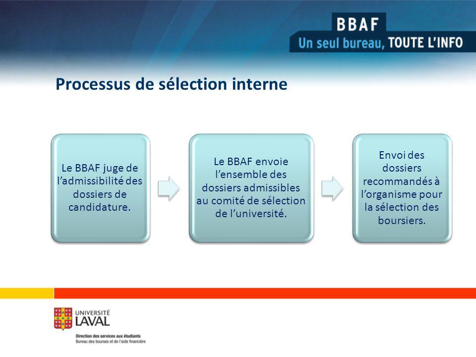 Processus de sélection interne Le BBAF juge de ladmissibilité des dossiers de candidature.