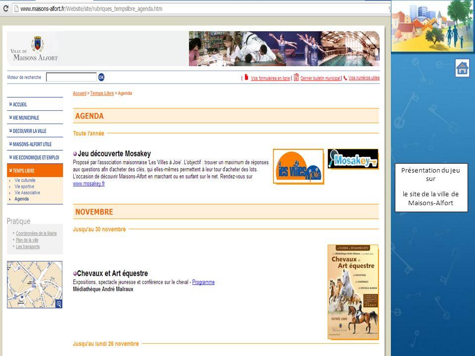 Présentation du jeu sur le site de la ville de Maisons-Alfort