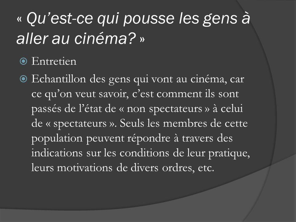 « Quest-ce qui pousse les gens à aller au cinéma? » Entretien Echantillon des gens qui vont au cinéma, car ce quon veut savoir, cest comment ils sont