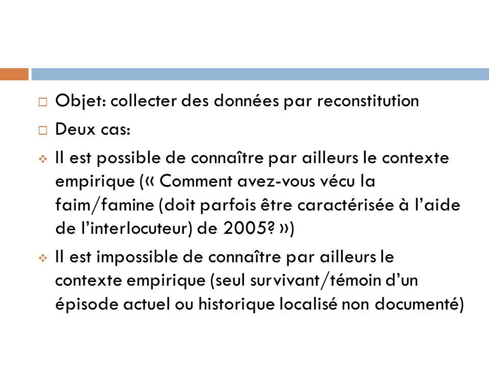 Objet: collecter des données par reconstitution Deux cas: Il est possible de connaître par ailleurs le contexte empirique (« Comment avez-vous vécu la