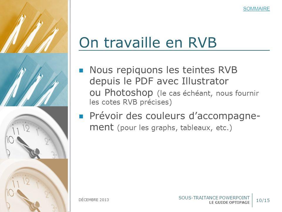 SOUS-TRAITANCE POWERPOINT LE GUIDE OPTIPAGE SOMMAIRE DÉCEMBRE 2013 On travaille en RVB 10/15 Nous repiquons les teintes RVB depuis le PDF avec Illustr