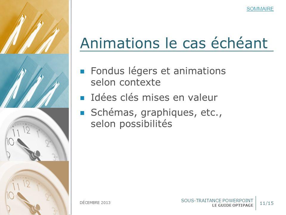SOUS-TRAITANCE POWERPOINT LE GUIDE OPTIPAGE SOMMAIRE DÉCEMBRE 2013 Animations le cas échéant 11/15 Fondus légers et animations selon contexte Idées cl