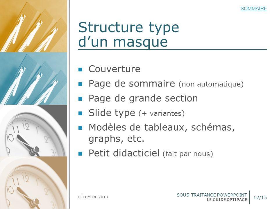 SOUS-TRAITANCE POWERPOINT LE GUIDE OPTIPAGE SOMMAIRE DÉCEMBRE 2013 Structure type dun masque 12/15 Couverture Page de sommaire (non automatique) Page