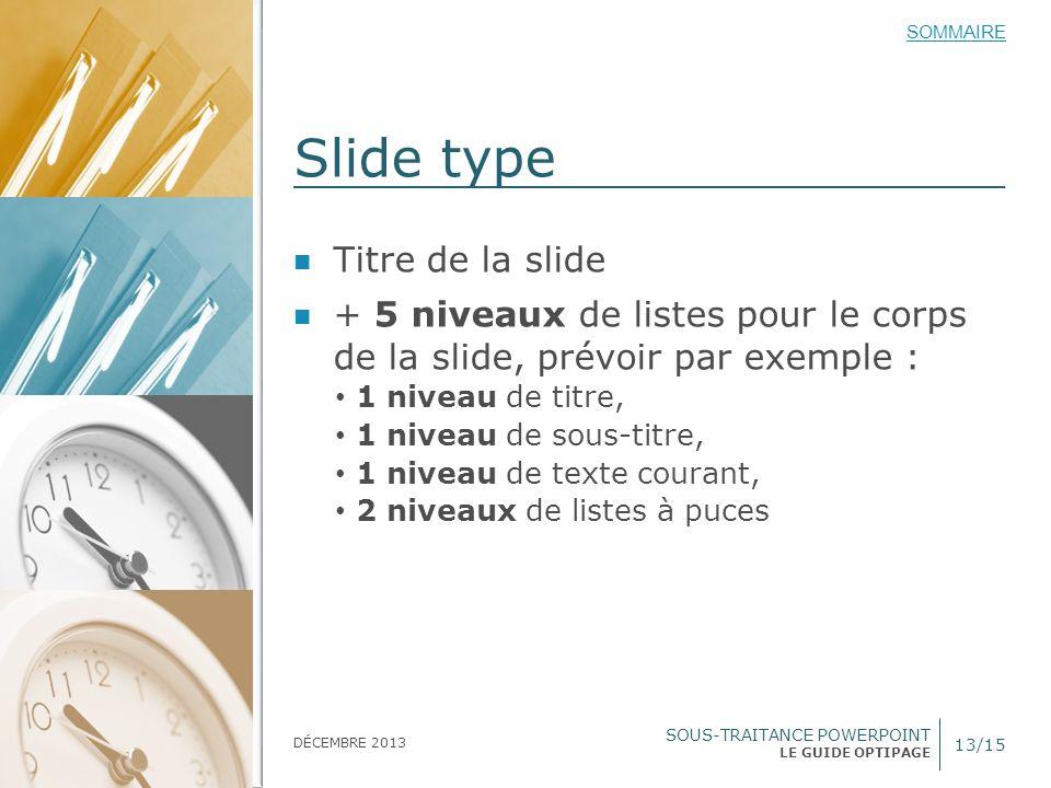 SOUS-TRAITANCE POWERPOINT LE GUIDE OPTIPAGE SOMMAIRE DÉCEMBRE 2013 Slide type 13/15 Titre de la slide + 5 niveaux de listes pour le corps de la slide,