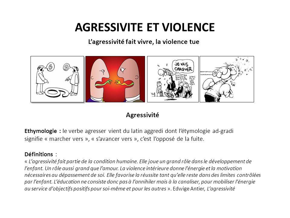 AGRESSIVITE ET VIOLENCE Lagressivité fait vivre, la violence tue Agressivité Ethymologie : le verbe agresser vient du latin aggredi dont létymologie ad-gradi signifie « marcher vers », « savancer vers », cest lopposé de la fuite.