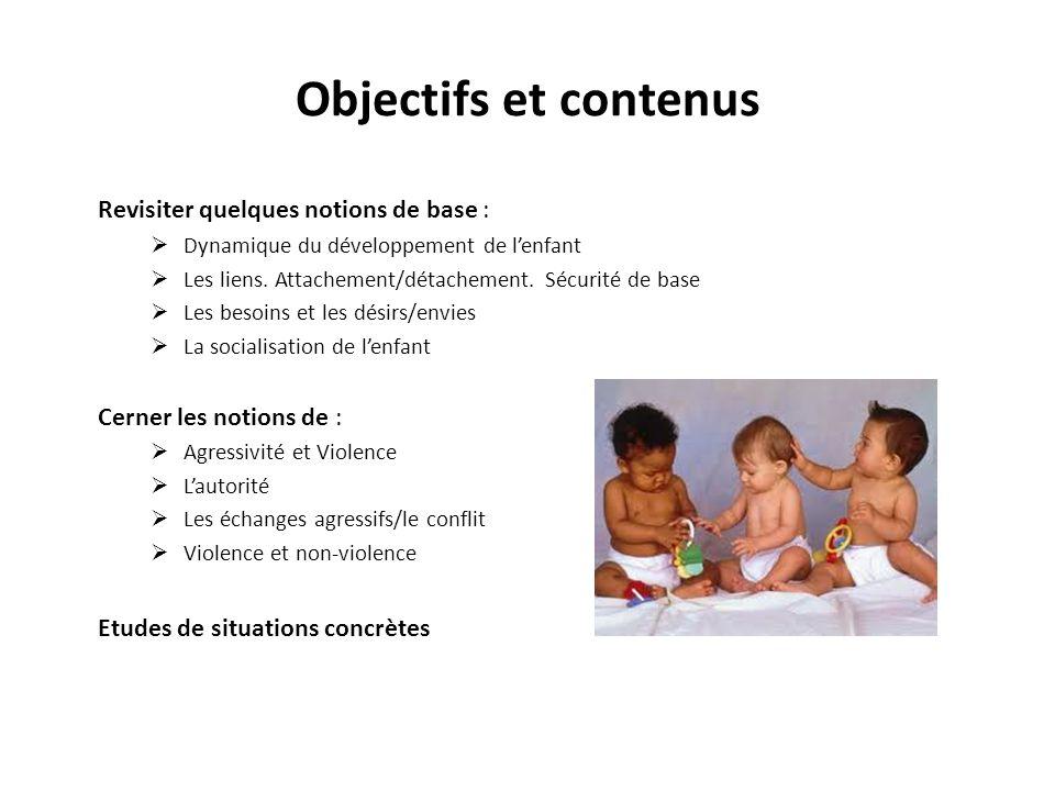Objectifs et contenus Revisiter quelques notions de base : Dynamique du développement de lenfant Les liens.