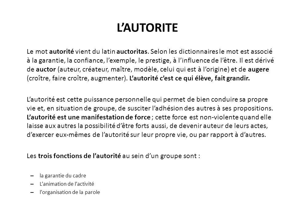 LAUTORITE Le mot autorité vient du latin auctoritas.