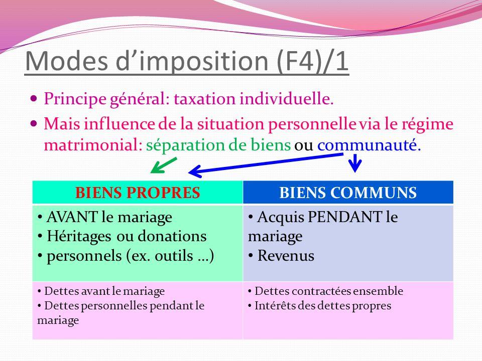 Modes dimposition (F4)/1 Principe général: taxation individuelle. Mais influence de la situation personnelle via le régime matrimonial: séparation de