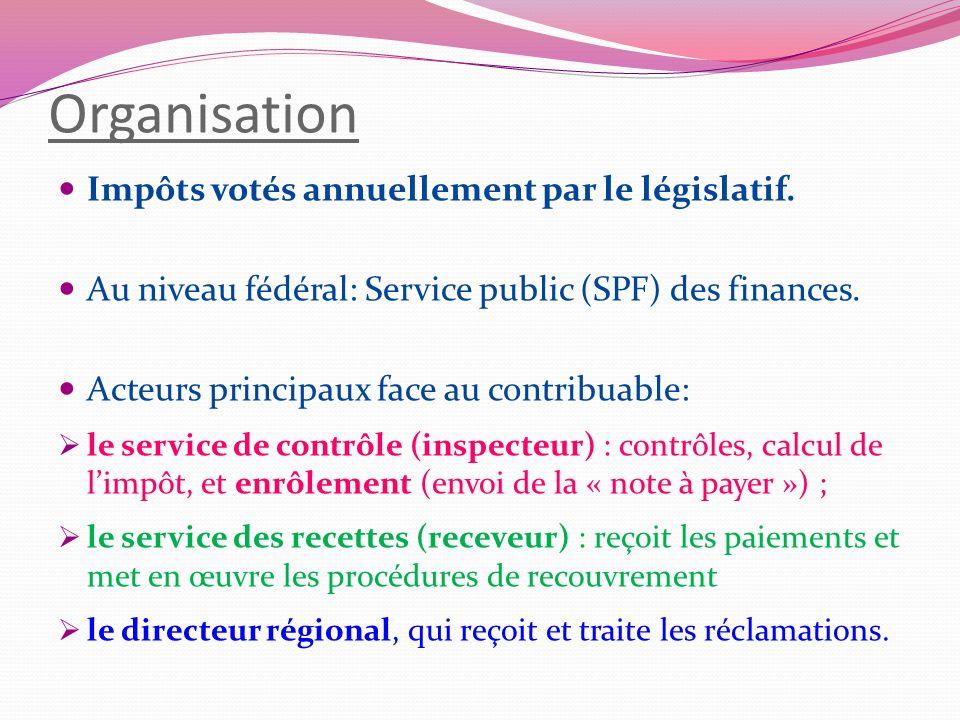 Organisation Impôts votés annuellement par le législatif. Au niveau fédéral: Service public (SPF) des finances. Acteurs principaux face au contribuabl