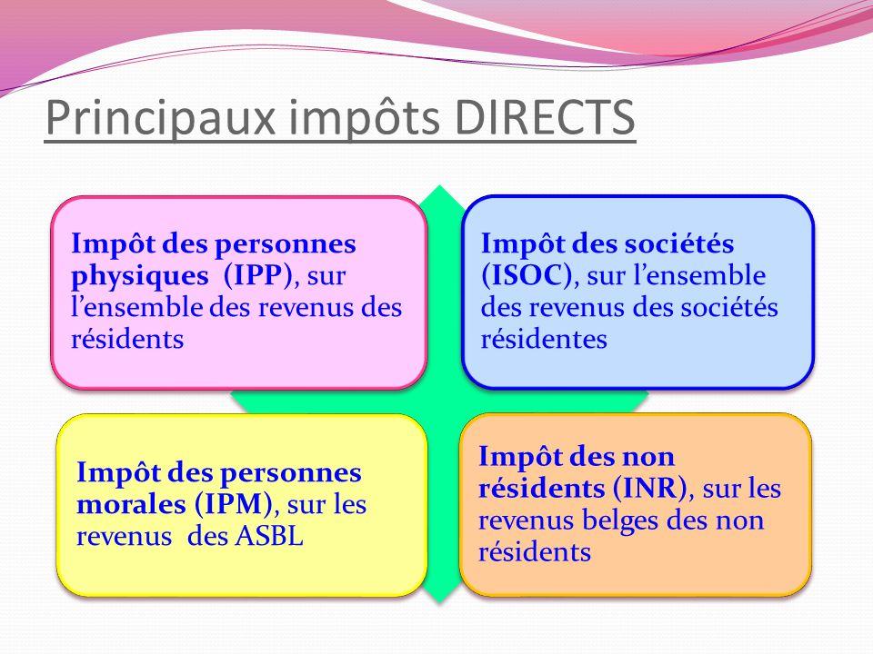 Principaux impôts DIRECTS Impôt des personnes physiques (IPP), sur lensemble des revenus des résidents Impôt des sociétés (ISOC), sur lensemble des re