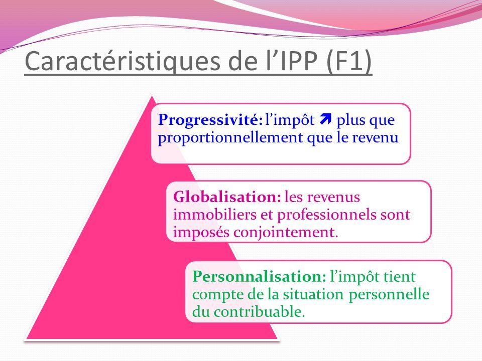 Caractéristiques de lIPP (F1) Progressivité: limpôt plus que proportionnellement que le revenu Globalisation: les revenus immobiliers et professionnel