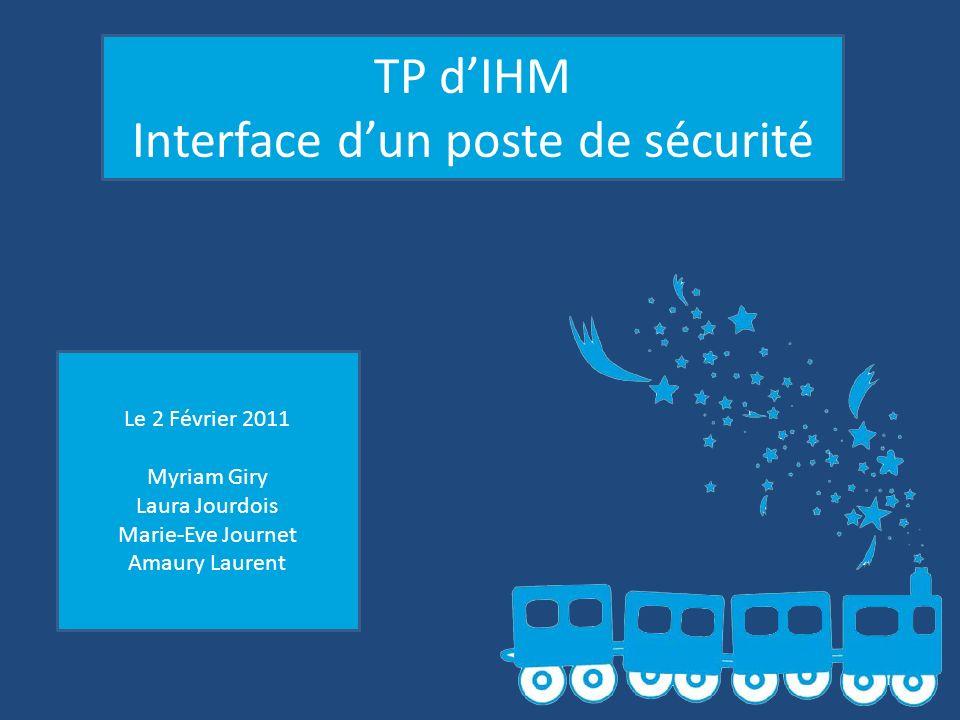 TP dIHM Interface dun poste de sécurité Le 2 Février 2011 Myriam Giry Laura Jourdois Marie-Eve Journet Amaury Laurent