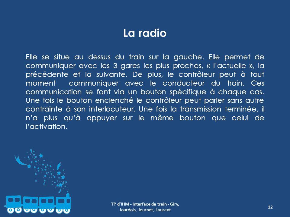 TP d'IHM - Interface de train - Giry, Jourdois, Journet, Laurent 12 La radio Elle se situe au dessus du train sur la gauche. Elle permet de communique