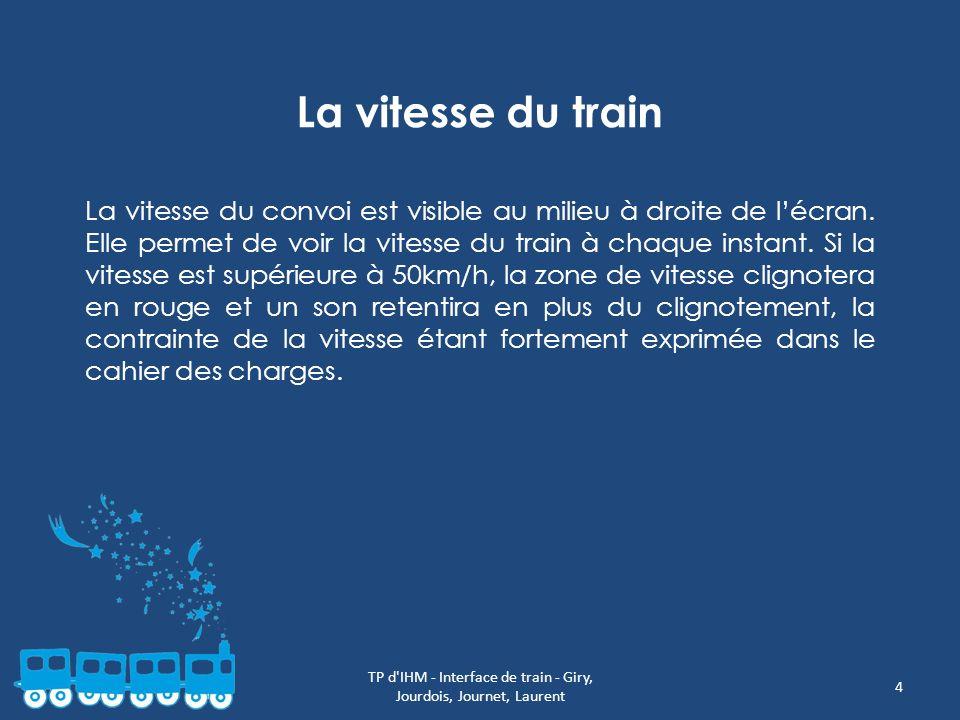 4 La vitesse du train La vitesse du convoi est visible au milieu à droite de lécran. Elle permet de voir la vitesse du train à chaque instant. Si la v