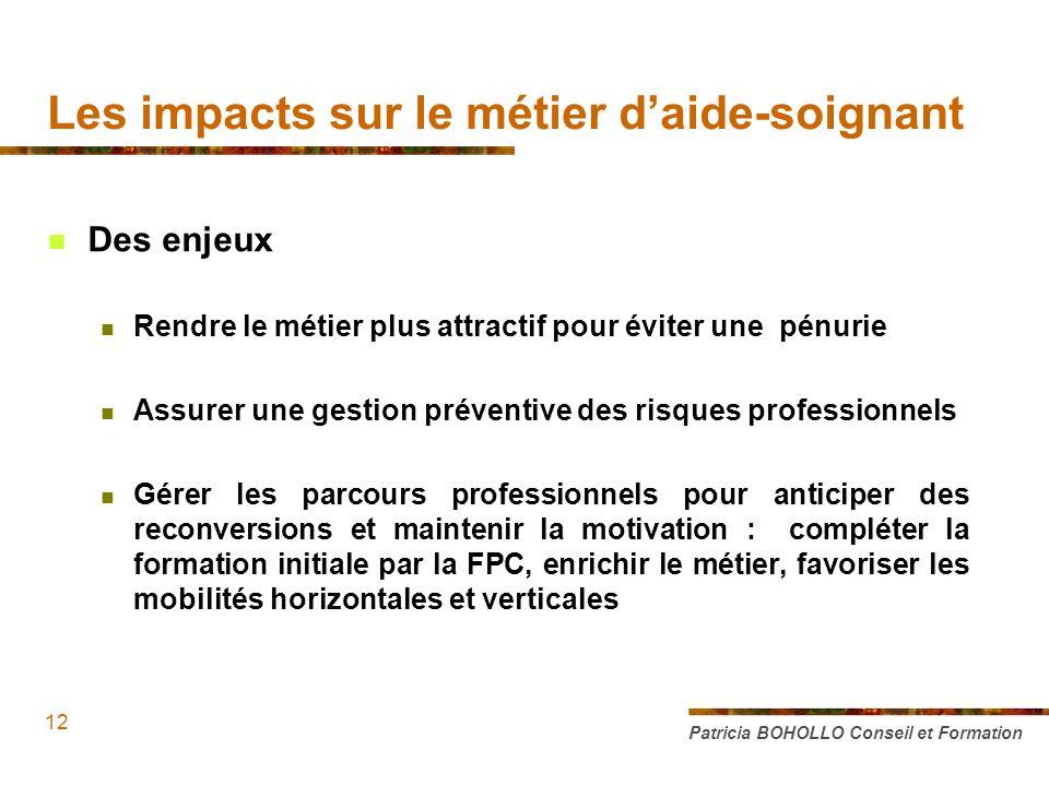 Des enjeux Rendre le métier plus attractif pour éviter une pénurie Assurer une gestion préventive des risques professionnels Gérer les parcours profes