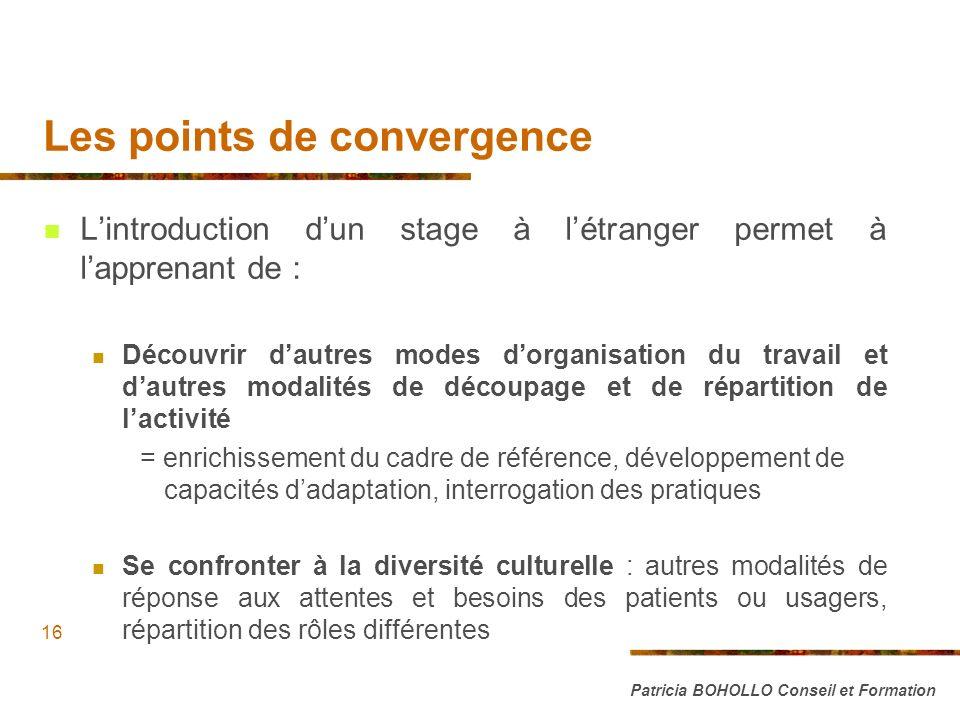 Les points de convergence Lintroduction dun stage à létranger permet à lapprenant de : Découvrir dautres modes dorganisation du travail et dautres mod