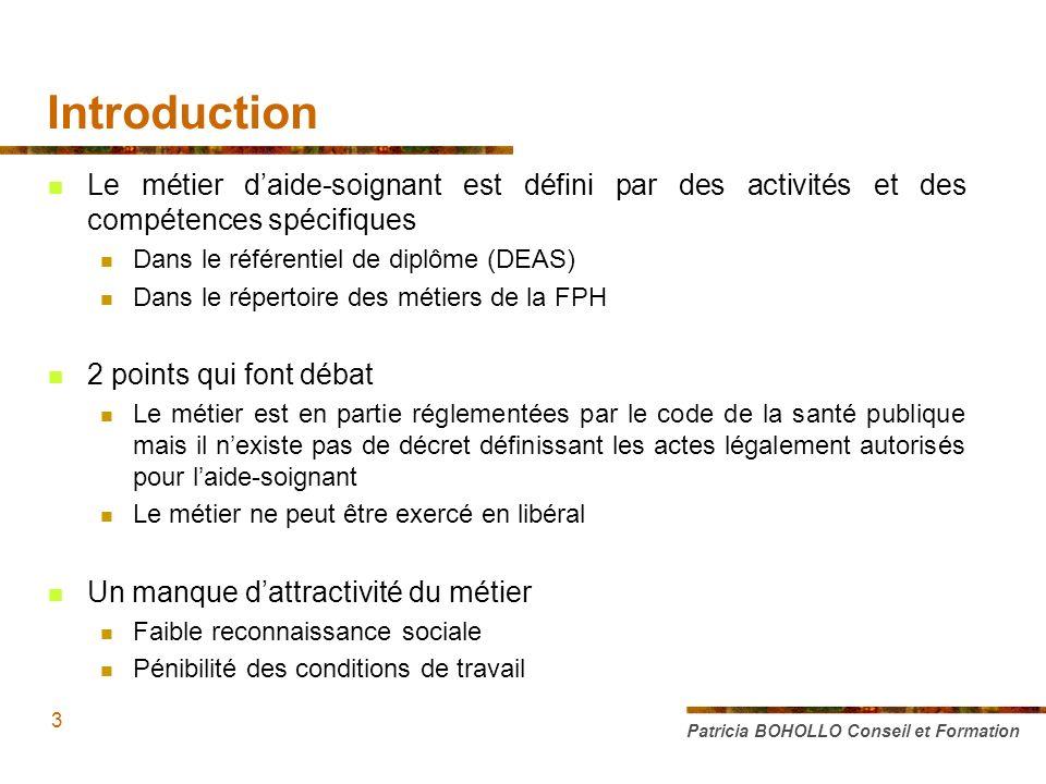 Introduction Le métier daide-soignant est défini par des activités et des compétences spécifiques Dans le référentiel de diplôme (DEAS) Dans le répert