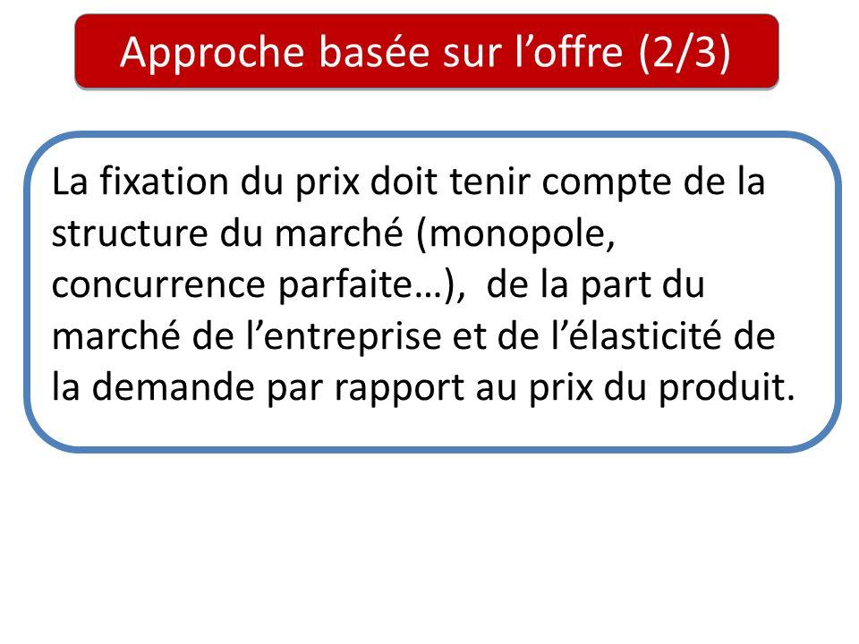 Approche basée sur loffre (2/3) La fixation du prix doit tenir compte de la structure du marché (monopole, concurrence parfaite…), de la part du march