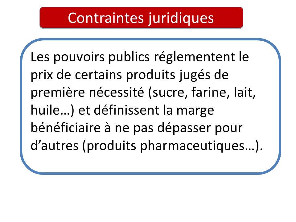 Contraintes juridiques Les pouvoirs publics réglementent le prix de certains produits jugés de première nécessité (sucre, farine, lait, huile…) et déf