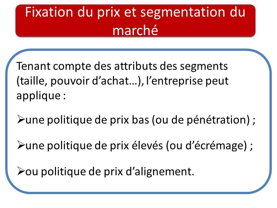 Fixation du prix et segmentation du marché Tenant compte des attributs des segments (taille, pouvoir dachat…), lentreprise peut applique : une politiq