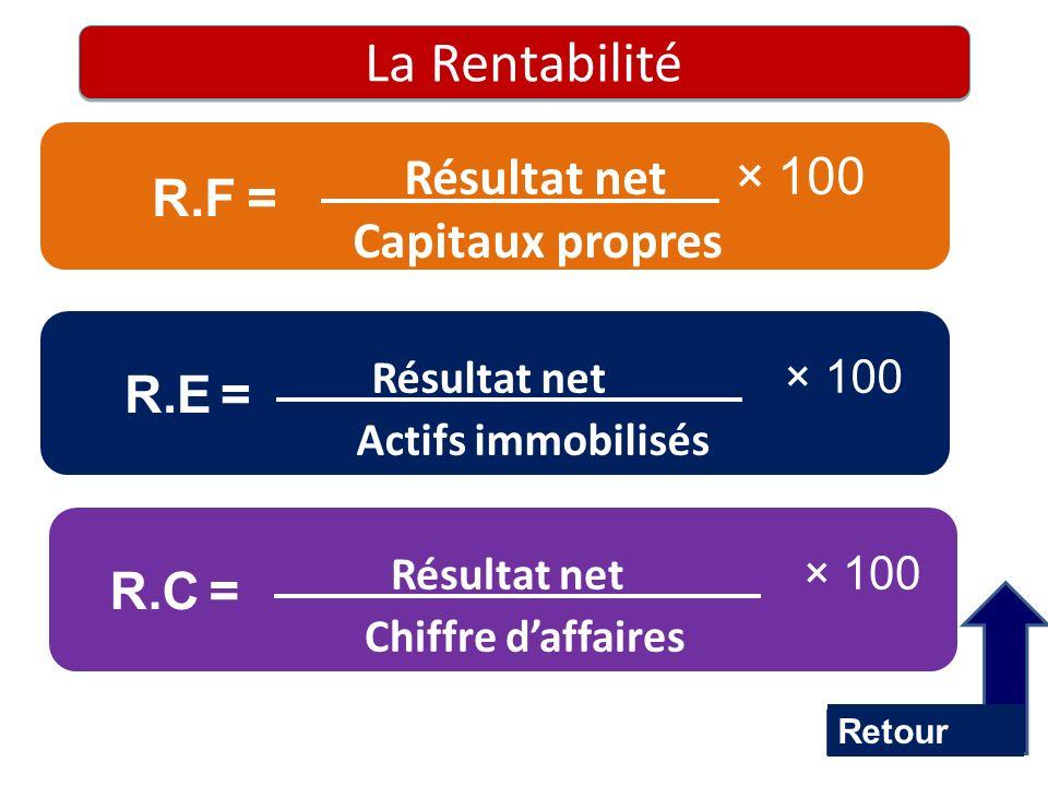 La Rentabilité Résultat net × 100 Capitaux propres R.F = Résultat net × 100 Actifs immobilisés R.E = Résultat net × 100 Chiffre daffaires R.C = Retour