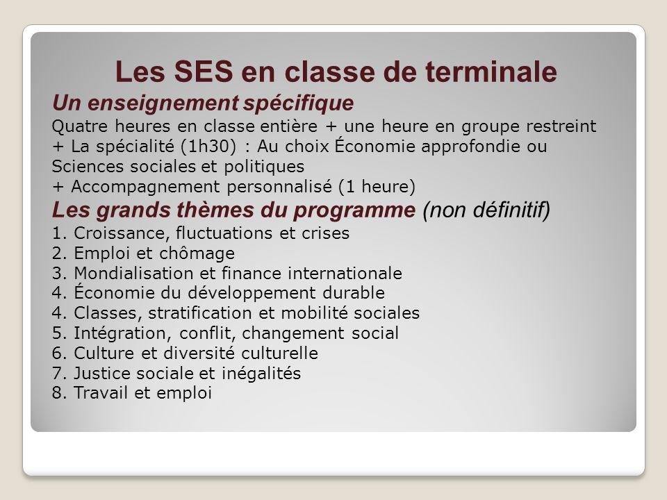 Les SES en classe de terminale Un enseignement spécifique Quatre heures en classe entière + une heure en groupe restreint + La spécialité (1h30) : Au