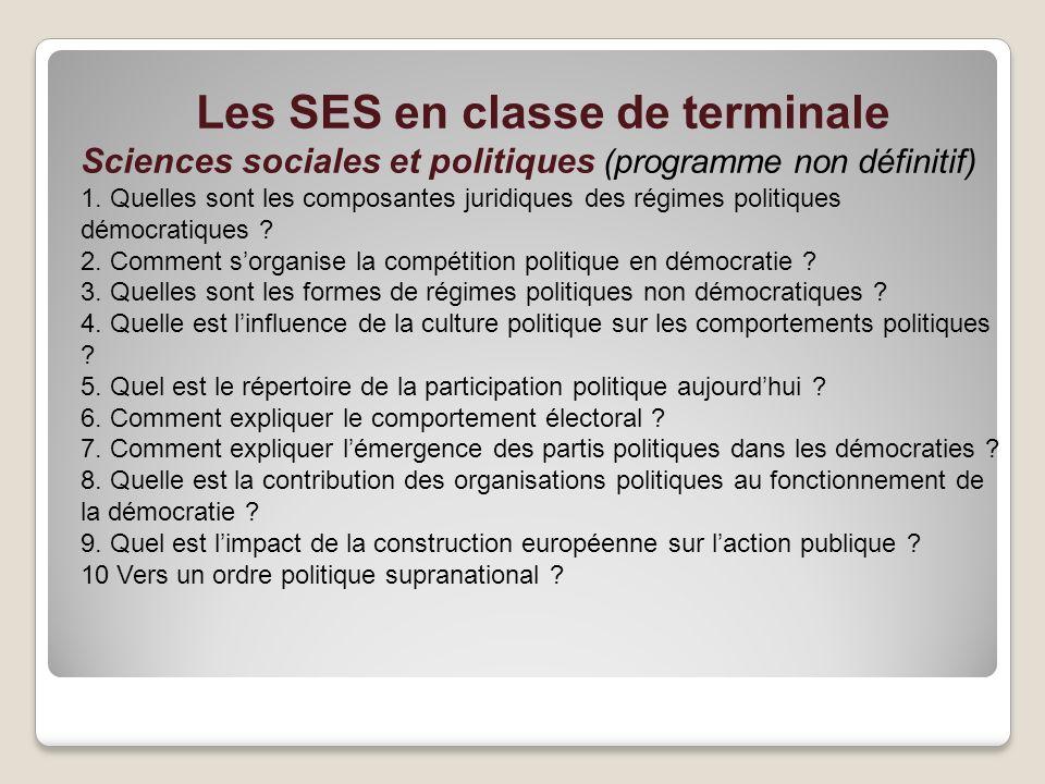 Les SES en classe de terminale Sciences sociales et politiques (programme non définitif) 1. Quelles sont les composantes juridiques des régimes politi